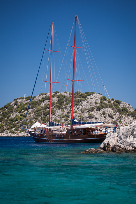 Gület (yacht) moored in beautiful Aegean waters