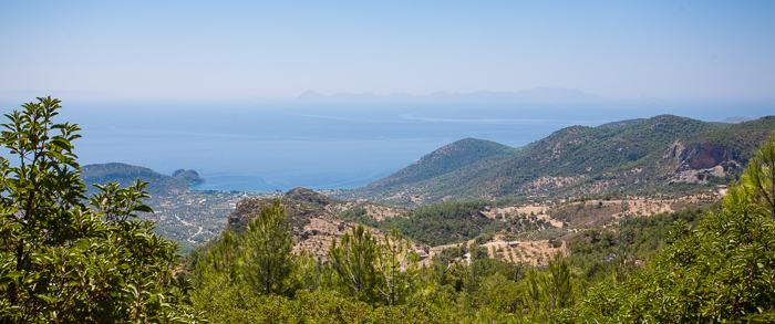 View from a hilltop looking out towards the Greek islands