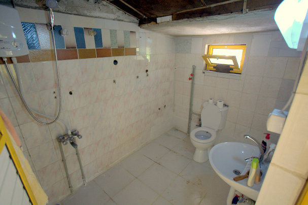 The renovated bathroom: no more outside toilet!