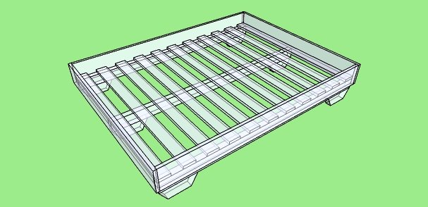 Double bed planned in Sketchup.