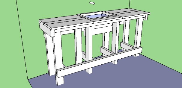 3-D model of the outdoor kitchen worktop.