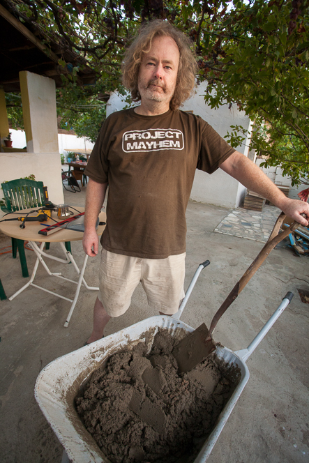 A man and his wheelbarrow. (Thanks for the shirt, Paul.)