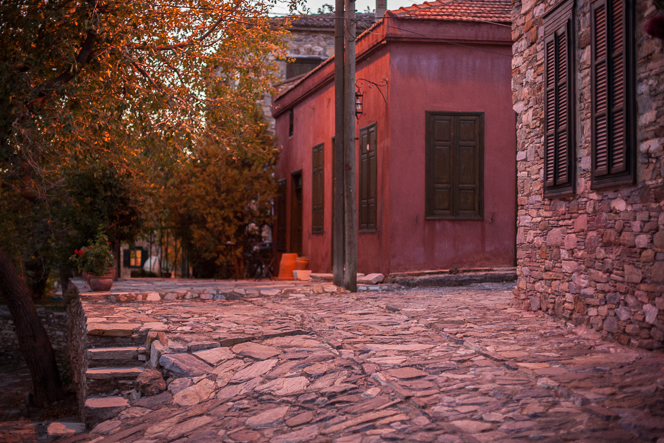 Evening street scene in Eski Doğanbey, a conservation village nearby.