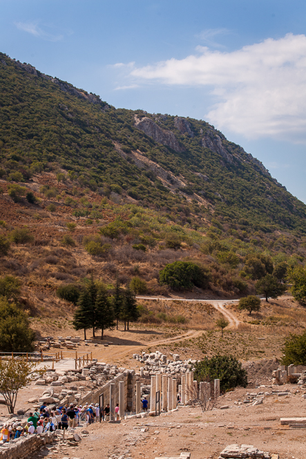 Ephesus is surrounded by dry Mediterranean hills. This used to be the shoreline, before the harbour silted up.