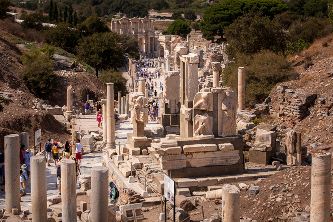 The view down Curetes Street: the ruins of baths, shops, private houses, temples, etc.
