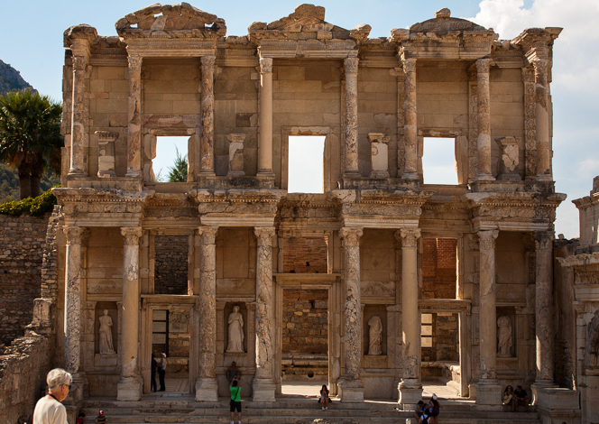 The reconstructed facade of the Library of Celsus.