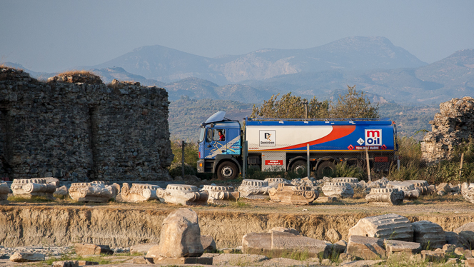 Truck driving through ancient Magnesia.