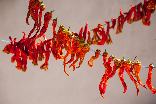 Peppers threaded onto string, drying in the courtyard.