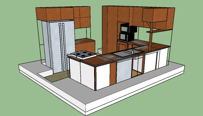Planned kitchen layout in Sketchup.