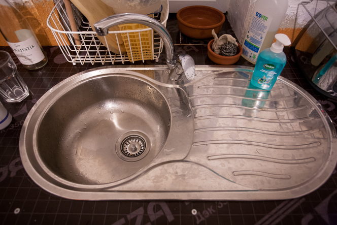 Our long-awaited kitchen sink.