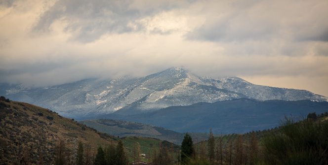 Snow on the peaks.
