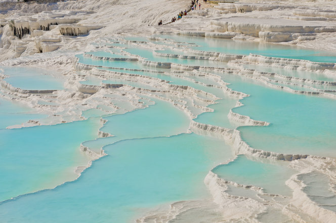 The terraces at Pamukkale. Not my photo: credit goes Antoine Taveneaux and Wikimedia Commons.
