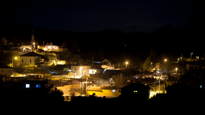 Our village by night.  (One day this will be the view from the restaurant terrace.)