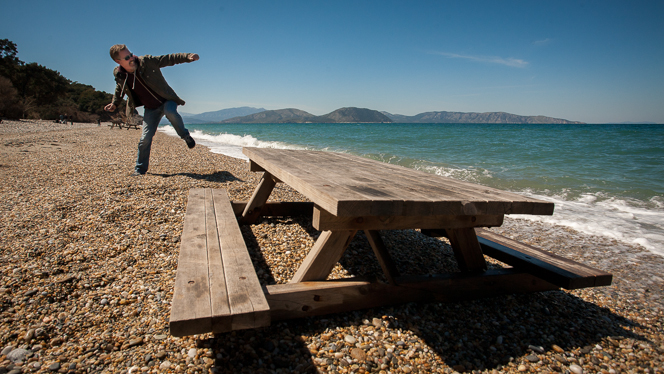 A picnic table as close to the sea as anyone could want.  That is my brother being dynamic and sporty in the background.
