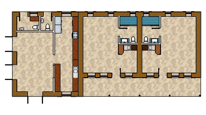 Plan view of the cafe, kitchen,and two guest rooms.