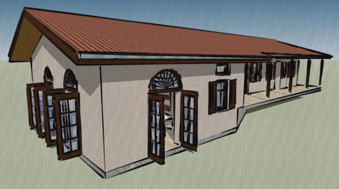 The cafe will have big french doors out onto the terrace area.  There's also a higher ceiling as the roof is common but the floor is lower. This seems to make the building blend into the slope a bit more.