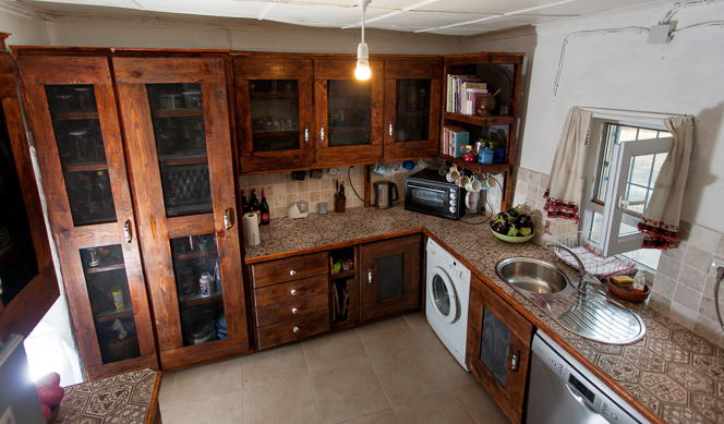 High-angle view of the kitchen.