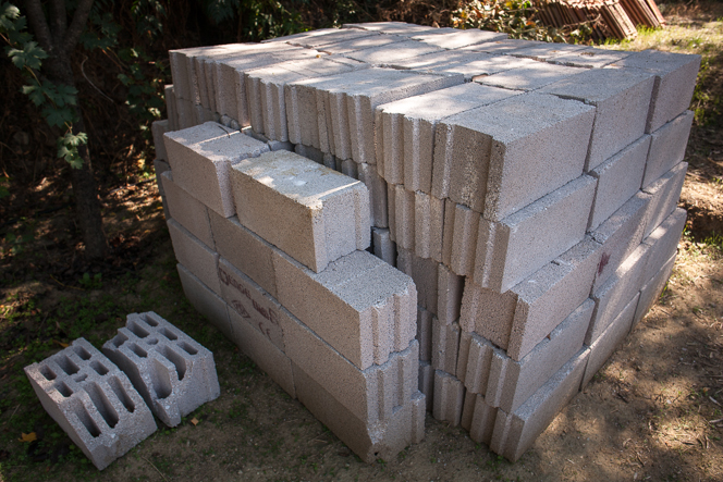 Bricks for raised bed and retaining wall