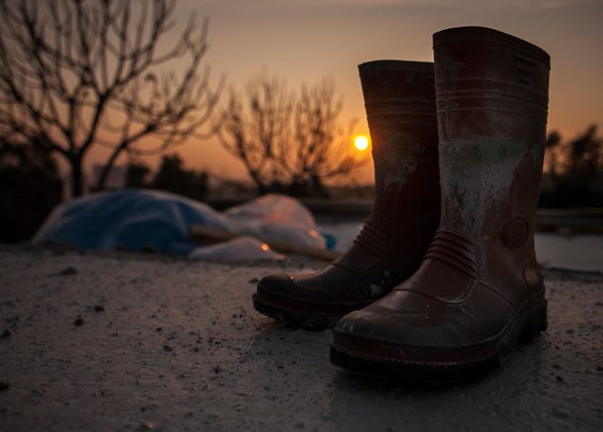 Sunset with boots.