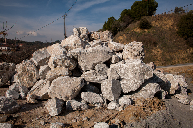 34 tons of rocks to make a wall.