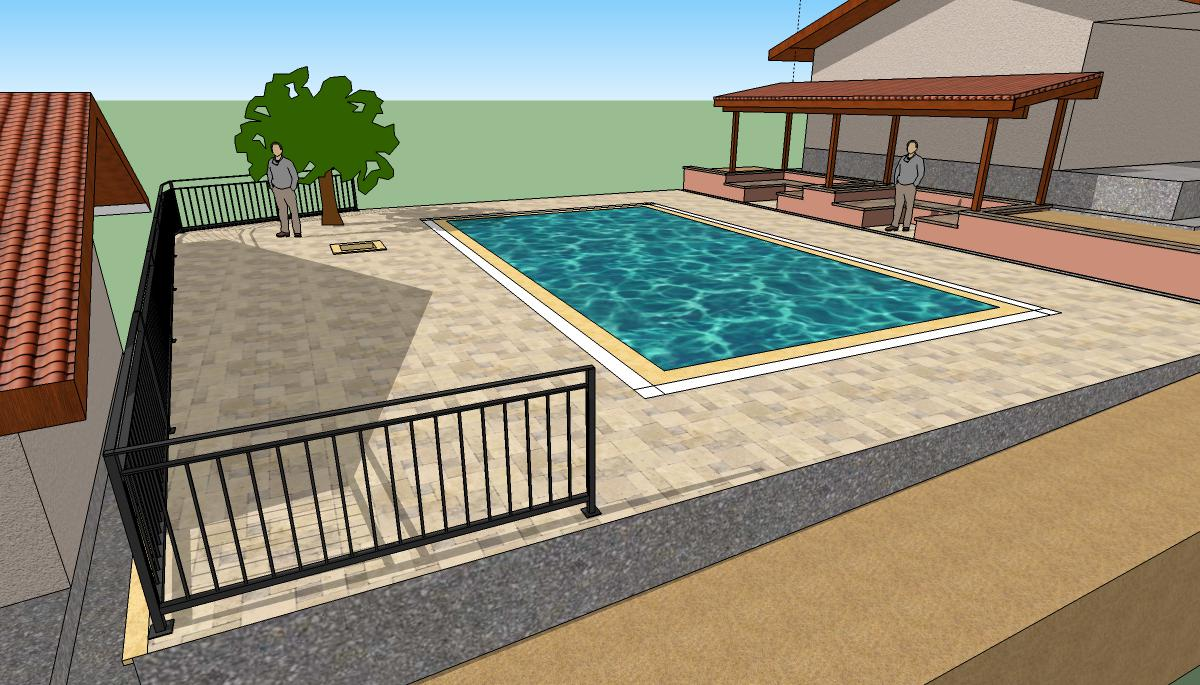 Some of the planned landscaping around the pool.