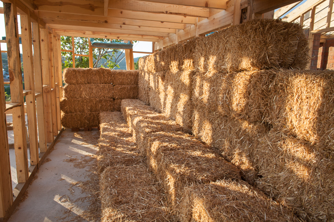 Straw bales stored in the kitchen