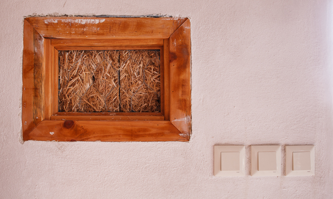 "Straw bale ""truth window""."