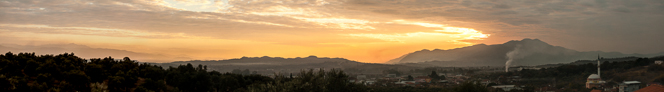 Sunset panorama from the highest point on our block.